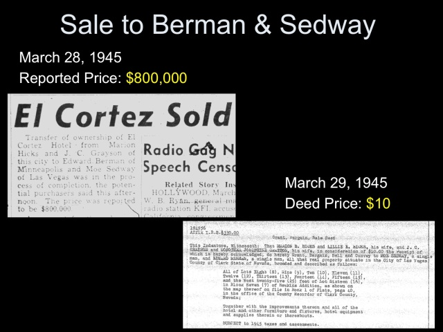 El Cortez sold to Moe Sedway et al