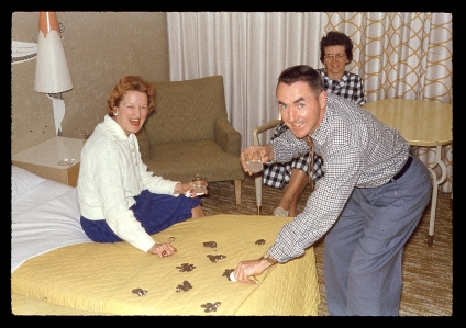 Flo, Frank and Betty counting their loot. Dunes 1961